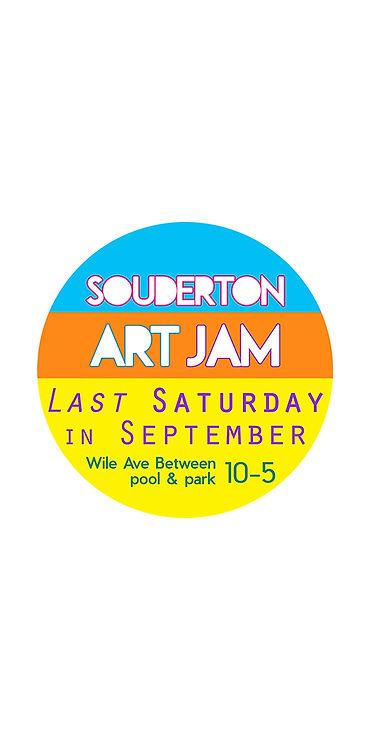 Art Jam logo round last saturday in whit