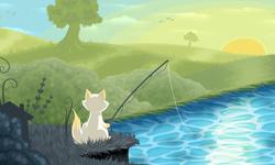 Cat Goes Fishing Art