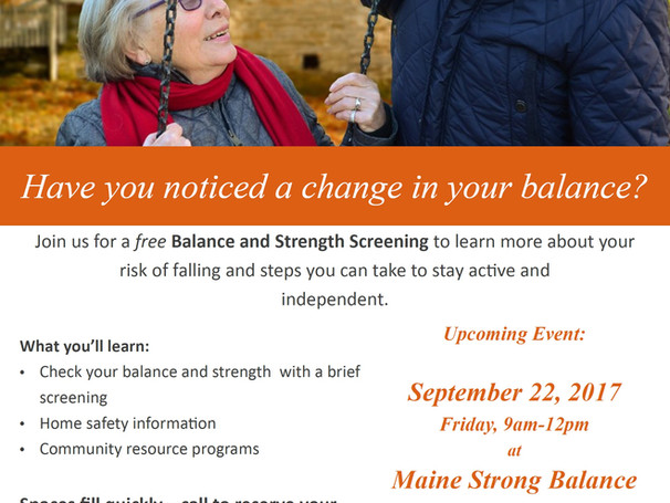 Join Us for a Free Balance & Strength Screening