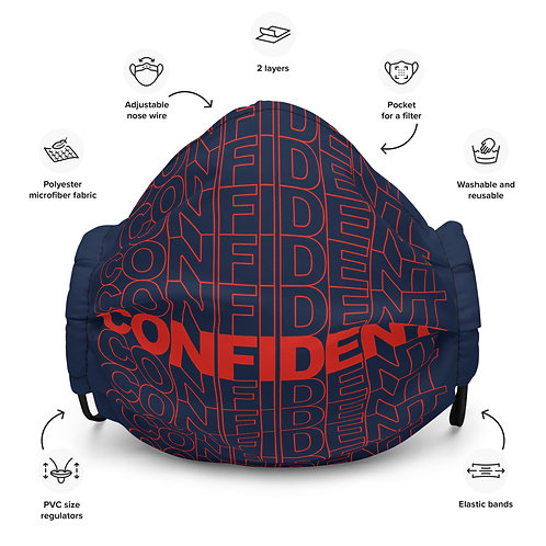 Premium Confident Face Mask (Red & Navy)