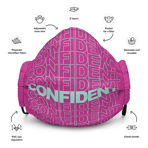Premium Confident Face Mask (Mint & Fuchsia)