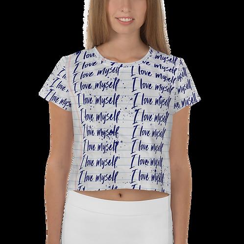 I Love myself All-Over Print Crop Tee
