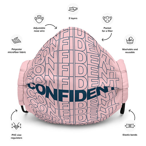 Premium Confident Face Mask (Navy & Pink)