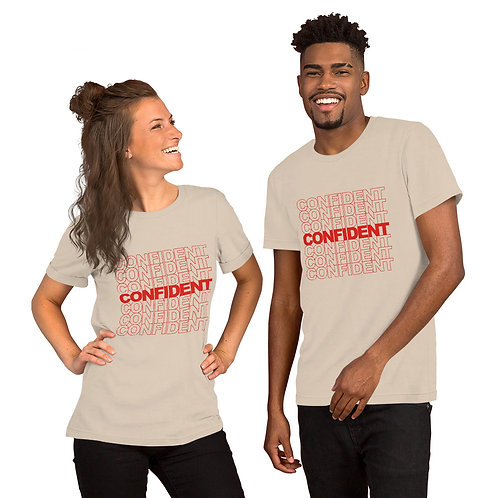 Confident Short-Sleeve Unisex T-Shirt (red)