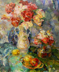 Натюрморт с крастными цветами