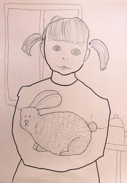 Автопортрет с кроликом