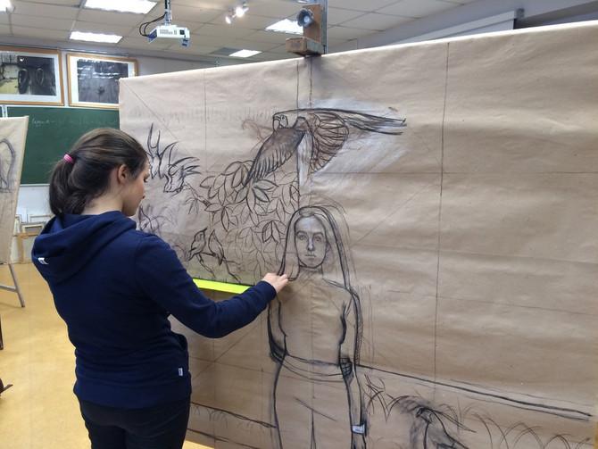 Подготовка дипломной работы на уроке композиции учащихся 11 классов художественной школы