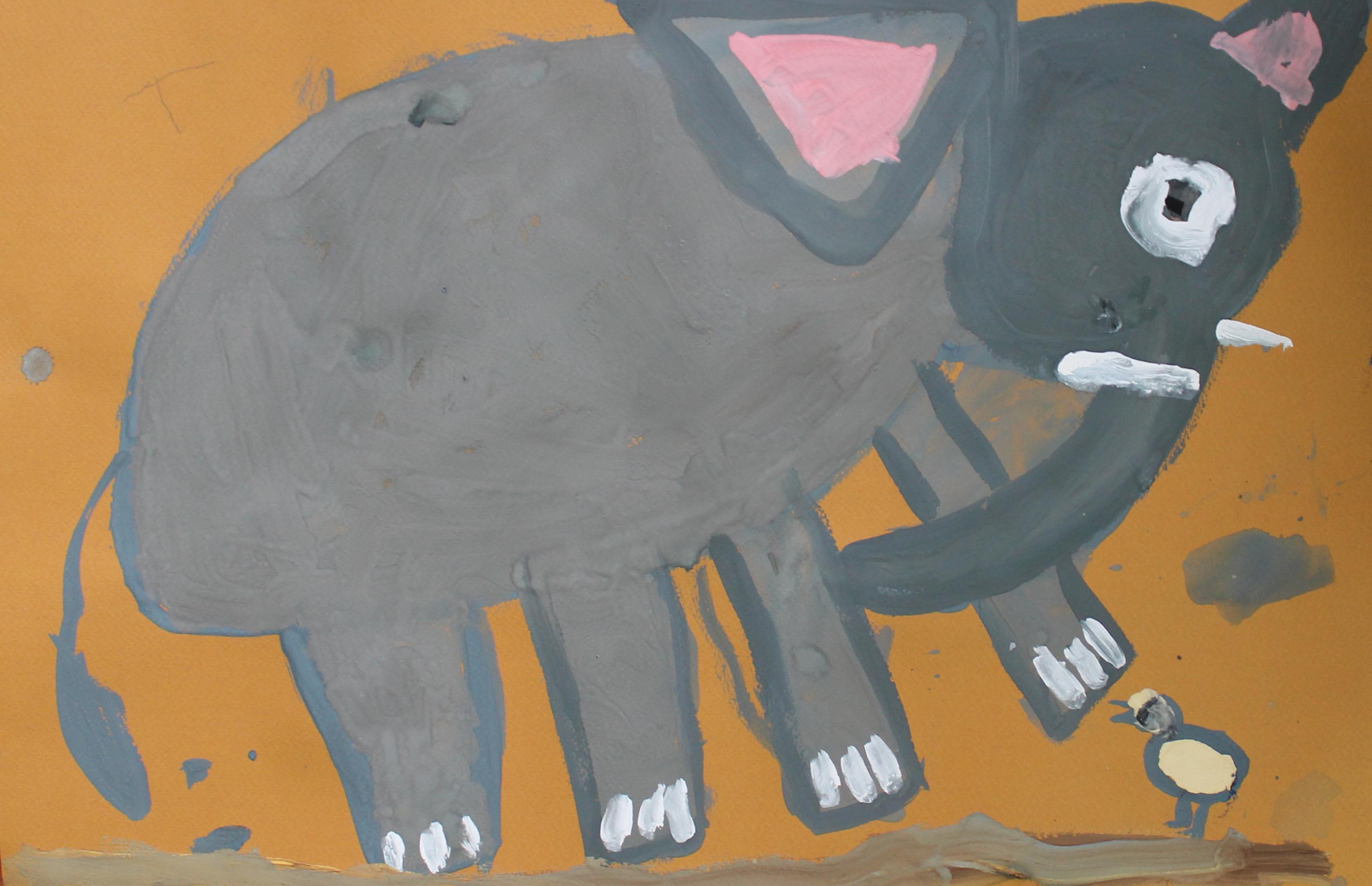 Слон и птичка