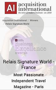 AWARDS 2021, relais signature world, ybsc communication, ode travel magazine, yamile sadok chouzet, best magazine