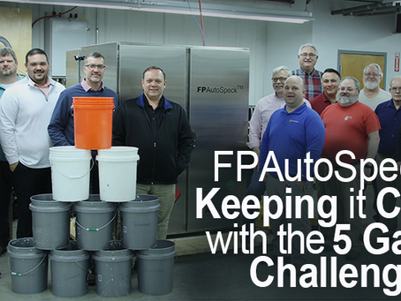 FPAutoSpeck™ Testing at Technidyne is keeping it clean with the 5-Gallon Challenge