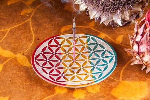 Blume des Lebens, bunt  -  Specksteinhalter