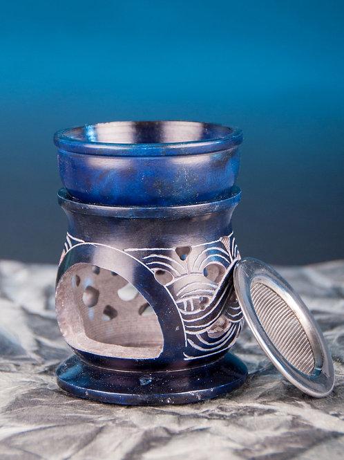 Aromalampe Keltischer Knoten mit Sieb, Speckstein blau, 10 cm hoch