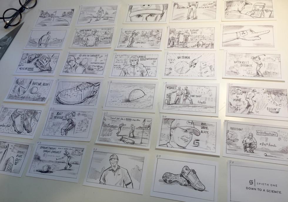 Under Armour storyboard layout & illustration