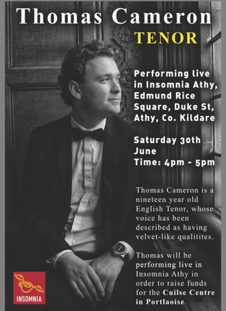 Thomas Cameron confirmed to visit Ireland to perform for Cancer charity at Insomnia store...