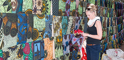 Kanga and Kitenge fabrics in Mzuzu market