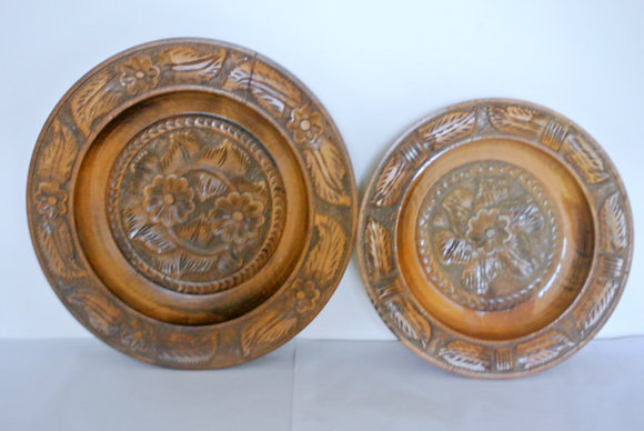 Pair of carved nesting bowls