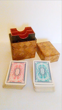 Japanese marquetry card box with gilt edged cards