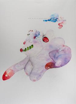 35d. Expression Machine IV, watercolour, pen, collage 56.76cm, 2015