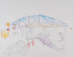 24b. The Witness II, watercolour, pencil, collage, 27. 35 cm, 2015