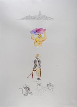 35e. Expression Machine V, watercolour, pen, collage 56.76cm, 2015