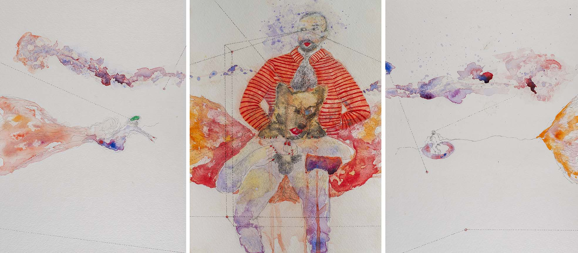 2. Dark Precursor Triptych, watercolour, pencil, collage, 50.30 cm, 201