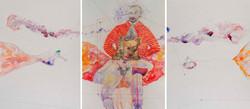 2. Dark Precursor Triptych, watercolour, pencil, collage, 50.30 cm, 201