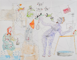 23. The Book of the Courtier and How Islam Overcodes the Flows, watercolour, pencil, collage, 27. 35