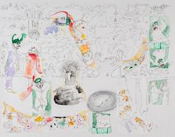20. Plane of Consistency vs Plane of Organization, watercolour, pencil, collage, 27. 35 cm, 2015