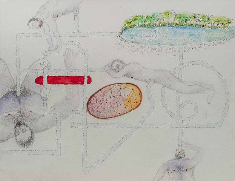 8. Ground Level Zero, watercolour, pencil, collage, 24.32 cm, 2015