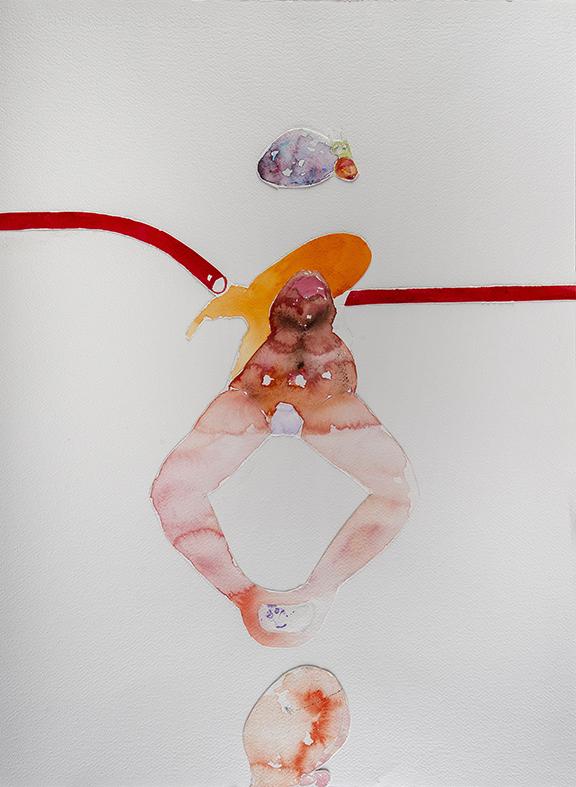 35c. Expression Machine III, watercolour, pen, collage 56.76cm, 2015