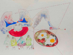 7. Relationship between Static Stress Change and Volcanism, watercolour, pencil, collage, 24.32 cm,