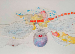 4. Unlocking the Ors with Ands, watercolour, pencil, collage, 23.30 cm, 2015