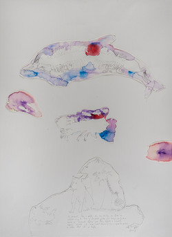 35a. Expression Machine I, watercolour, pen, collage 56.76cm, 2015