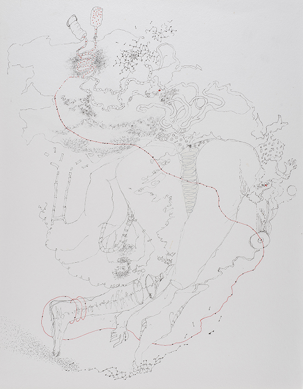 19b. Study for Rewriting Lyotard's Libidinal Economy on the Plane of Becoming-Queer II,          pen