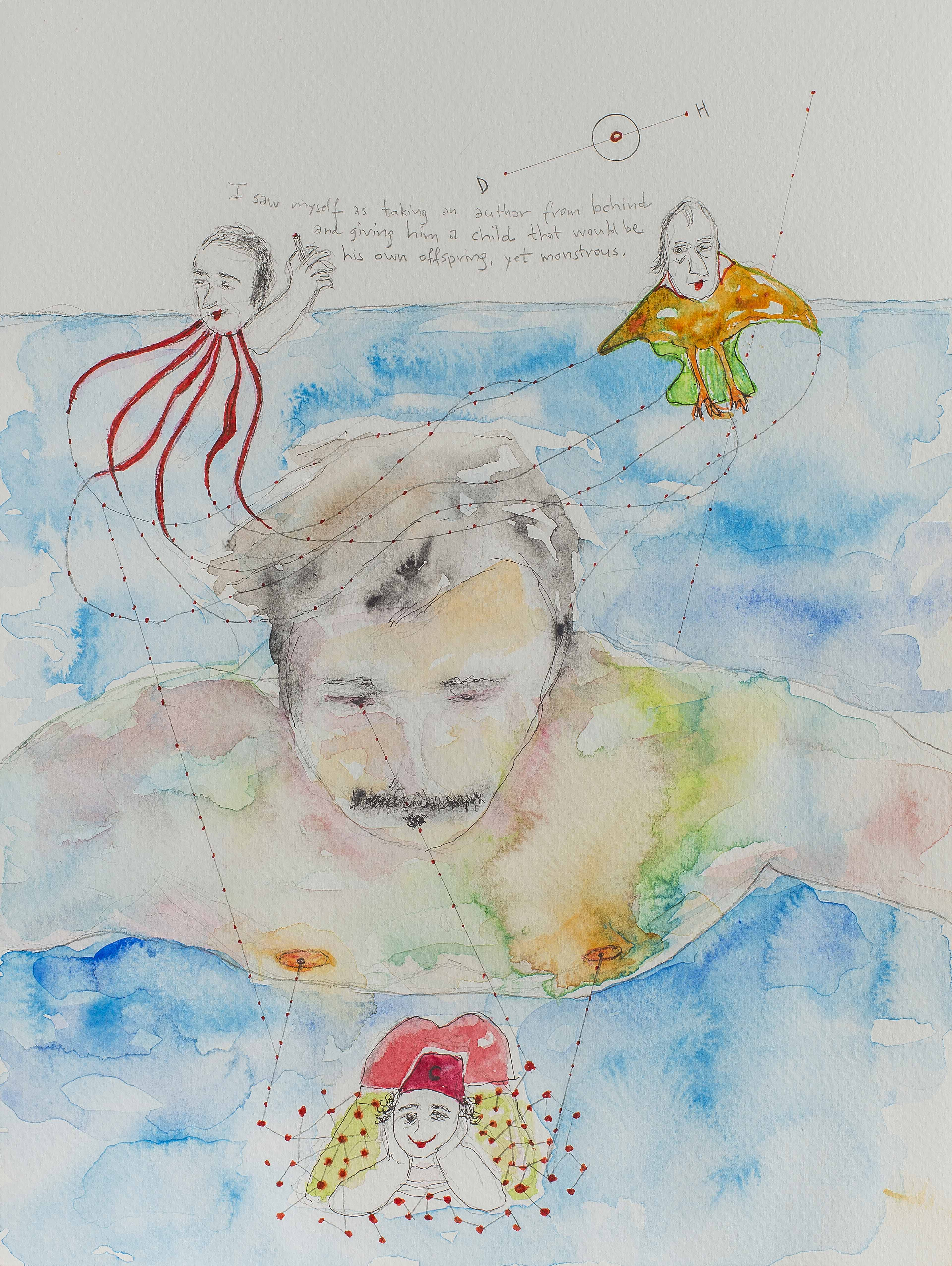 12. Self-portrait of the Artist as Taken from Behind by Philosophers, watercolour, pencil, 23.30 cm,