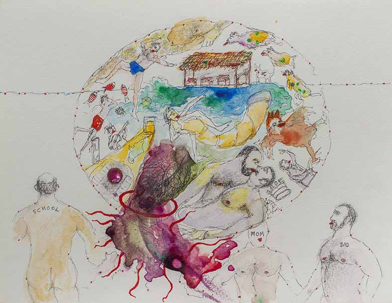 6. Mom, Dad and School, watercolour, pencil, collage, 23.30 cm, 2015
