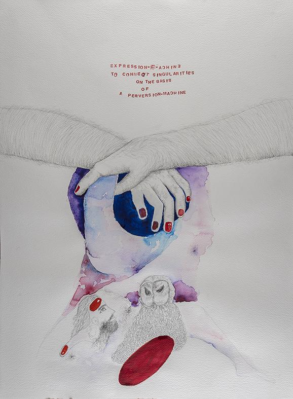 35b. Expression Machine II, watercolour, pen, collage 56.76cm, 2015
