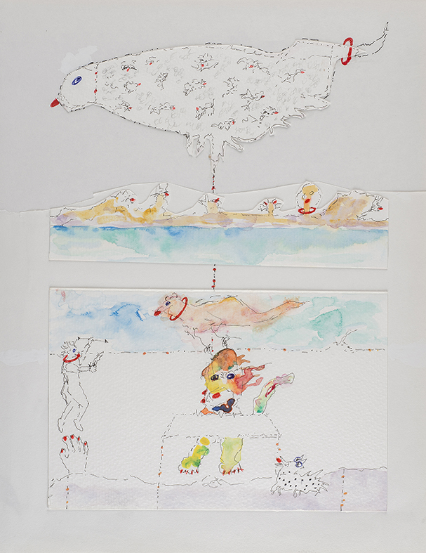 15. Surface vs Depth, watercolour, pencil, collage, 28.36 cm, 2014