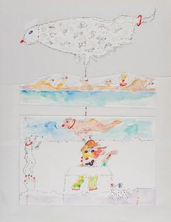 15. Surface vs Depth, watercolour, pencil, collage, 28.36 cm, 2014