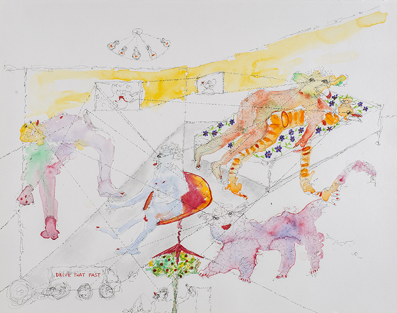 18. Drive That Fast, Kitchens of Distinction, watercolour, pencil, 27. 35 cm, 2015