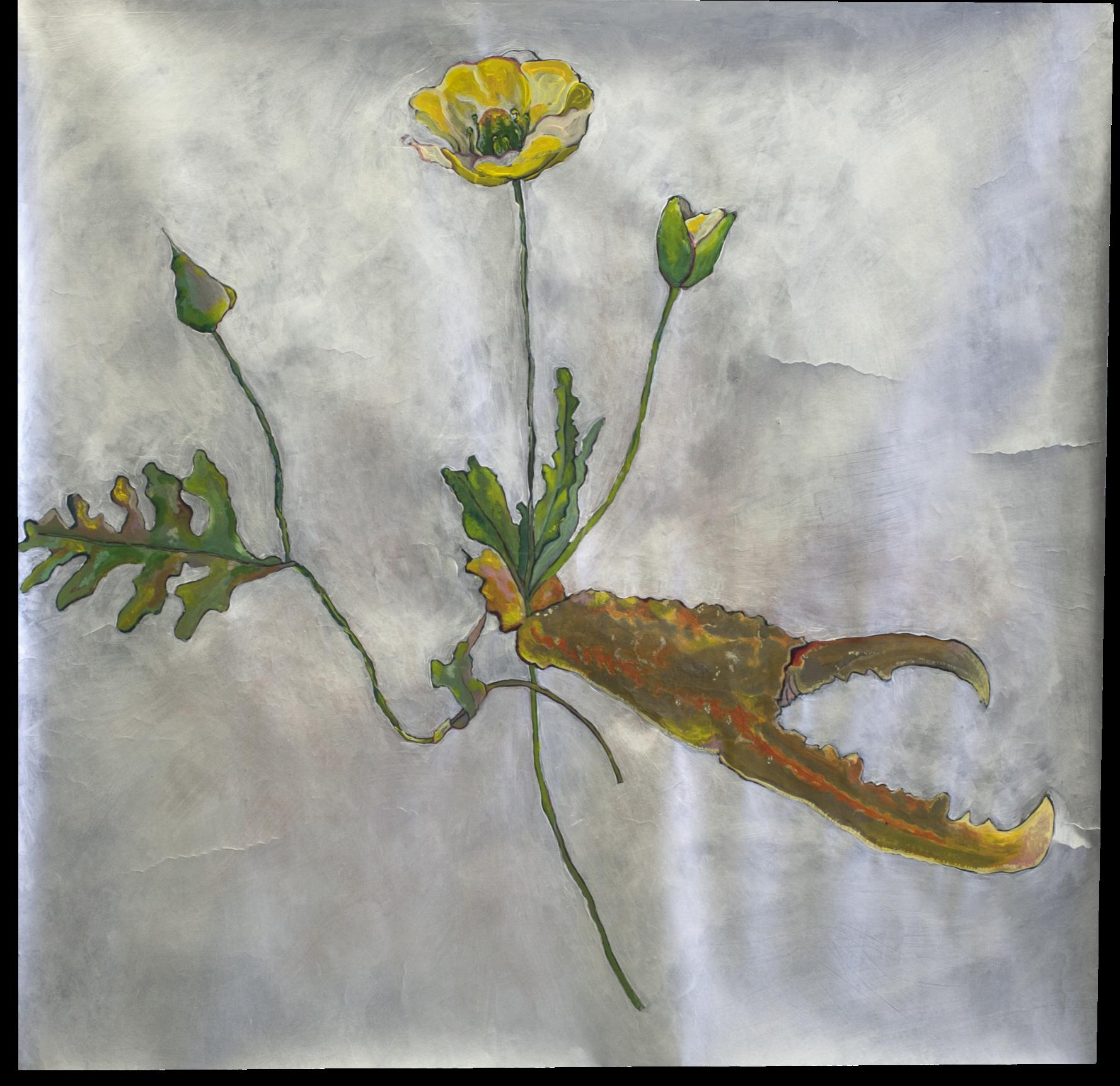 Fausses fleurs et écrevisse 70x70cm