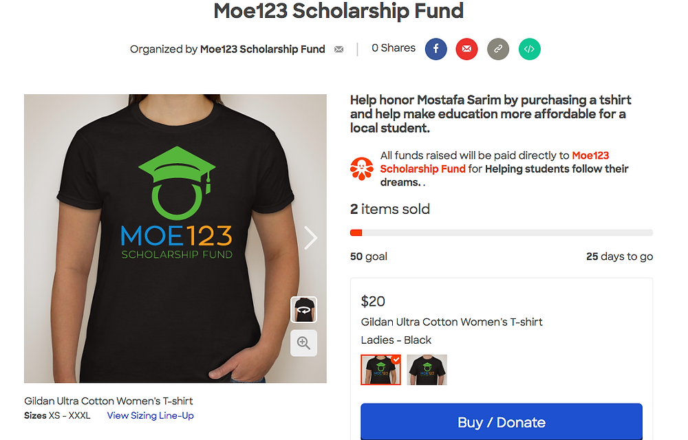 Moe123 is selling t-shirts for a limited time with proceeds going to Moe123 and its mission to make higher education more accessible for students in our community.