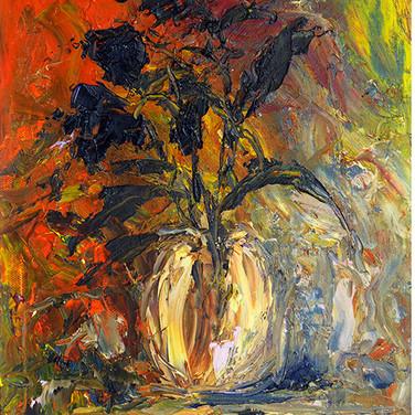 DARK FLOWERS IN THE SUNSET