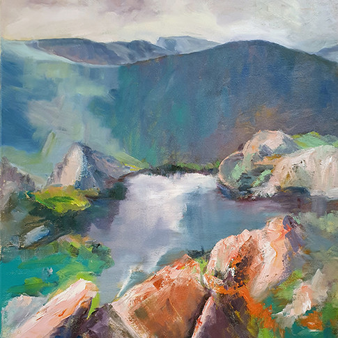 LOOKING OVER THE EDGE PHILIPPA HEADLEY 24X30 OIL PAINTING