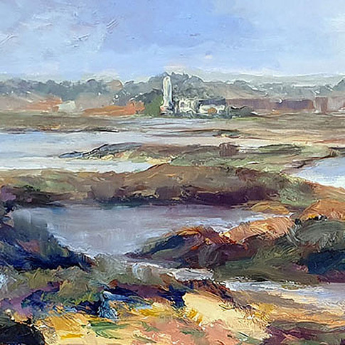 PHILIPPA HEADLEY OIL PAINTING PATH TO THE LIGHTHOUSE FULL FRONTAL.jpg