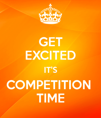 Poster: sunshine bright orange background baring the slogan: Get Excited It's Competition Time