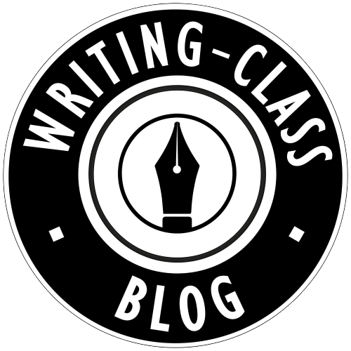 The Working-Class Blog logo a series of black and white concentric circles with WRITING CLASS BLOG in capitals around the thickest black circle and in the center an illustrated fountain pen nib