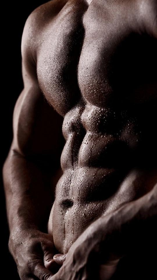 A darkened close-up of a cut, muscular male torso