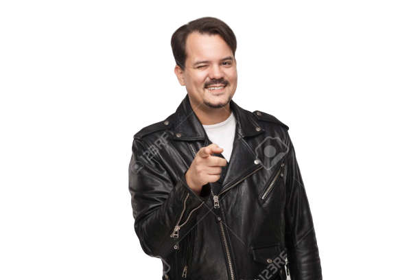 Man with moustach wearing leather jacket winking and pointing comically
