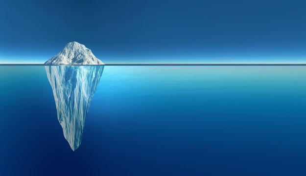 An iceberg with two-thirds seen below the surface of a distinct waterline and all in shades of ice-blue
